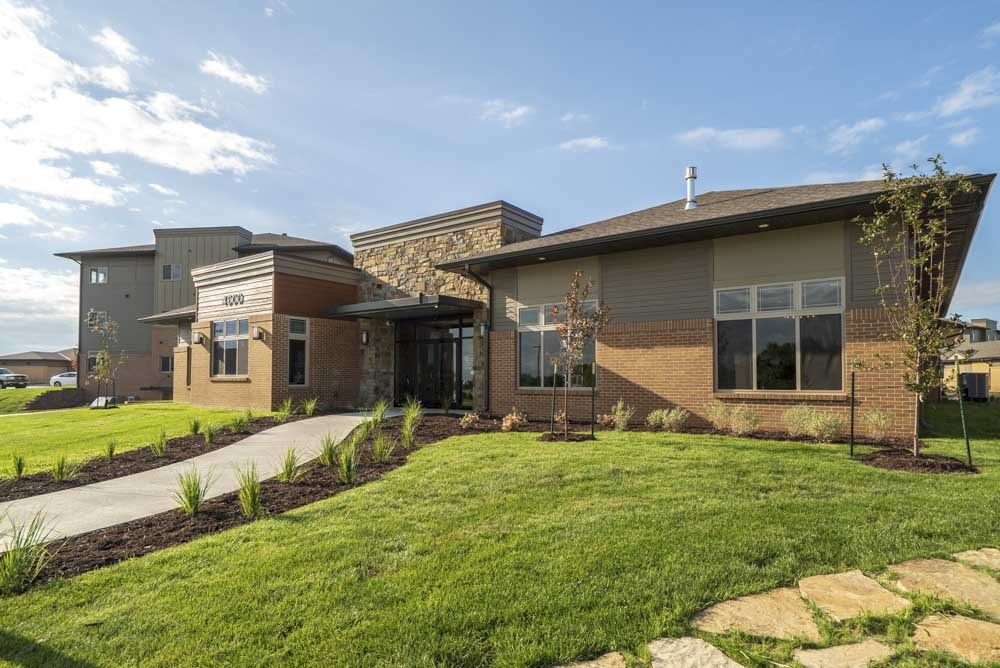 Clubhouse exterior at 360 at Jordan West best new apartments West Des Moines IA 50266