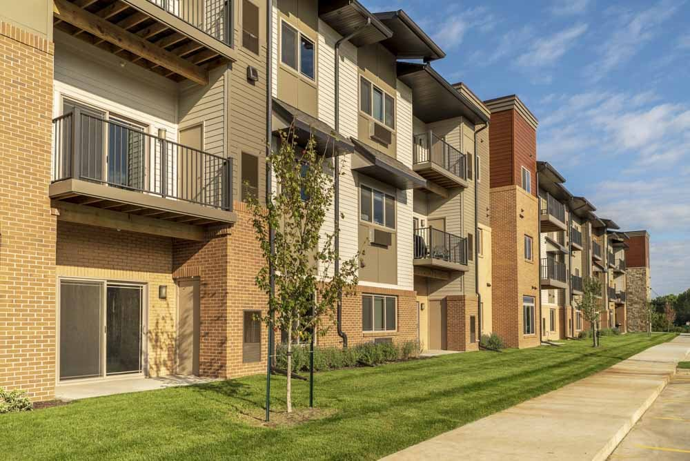 Exterior view of 360 at Jordan West best new apartments West Des Moines IA 50266