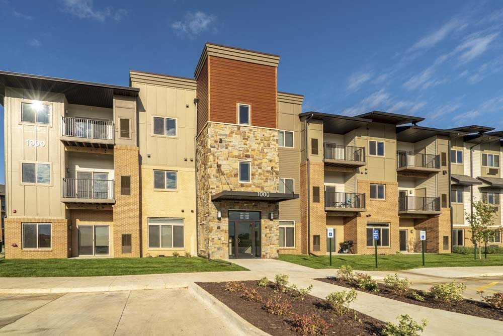 Exterior view of private entrances at 360 at Jordan West best new apartments West Des Moines IA 50266