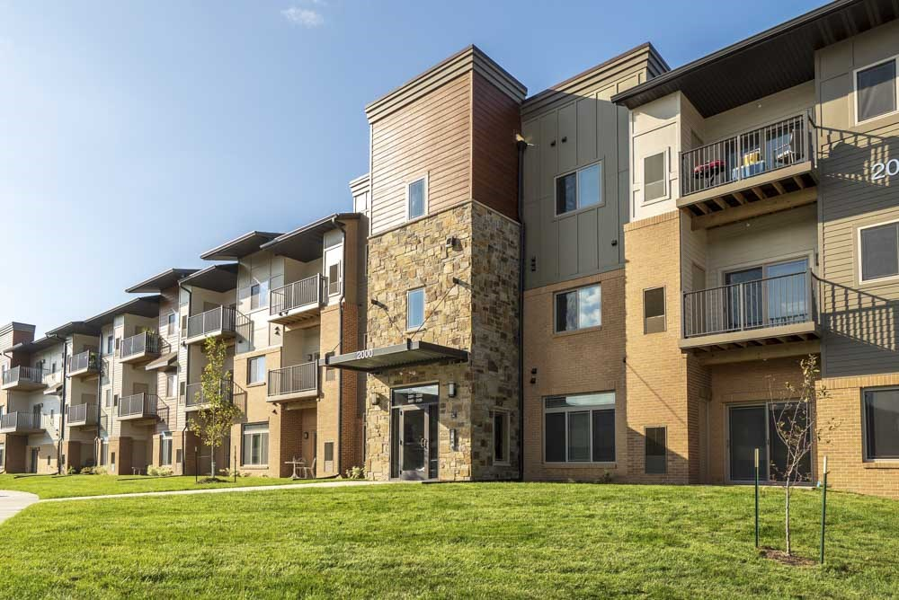 Exterior view of balconies at 360 at Jordan West best new apartments West Des Moines IA 50266