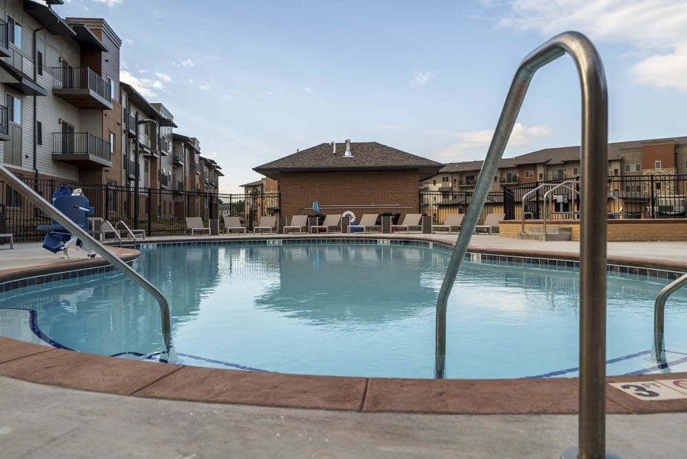 Resort-style pool at 360 at Jordan West best new apartments West Des Moines IA 50266