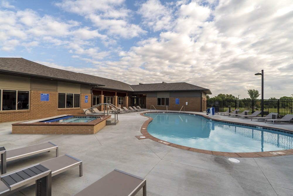 Resort-style swimming pool at 360 at Jordan West best new apartments West Des Moines IA 50266