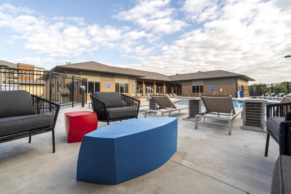 Outdoor lounge at 360 at Jordan West best new apartments West Des Moines IA 50266