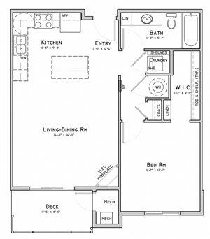 Unit B1-1 bedroom apartment at 360 at Jordan West best new apartments West Des Moines IA 50266