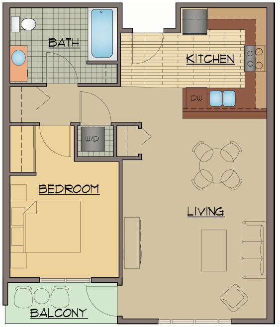 One Bed Floor Plan | Apartments For Rent Shoreline Washington | Echo Lake