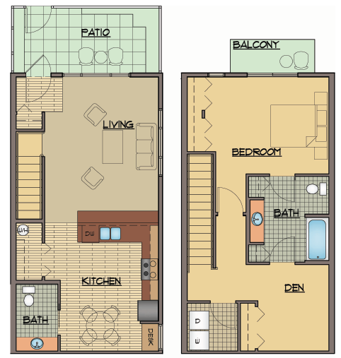 One Bed Townhome Floor Plan | Apartments For Rent Shoreline Washington | Echo Lake