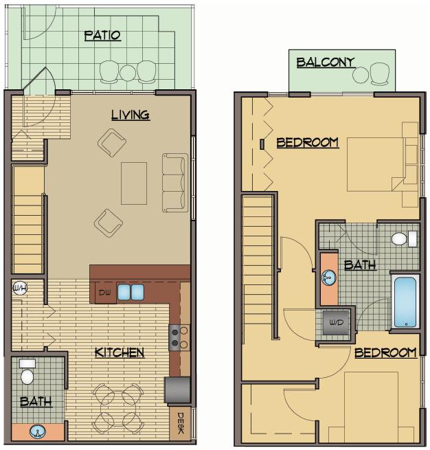 2x1 Bed Floor Plan | Apartments For Rent Shoreline Washington | Echo Lake