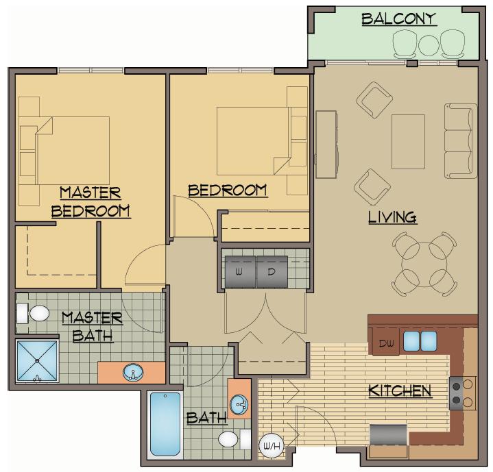 2x2 Bed Floor Plan | Apartments For Rent Shoreline Washington | Echo Lake