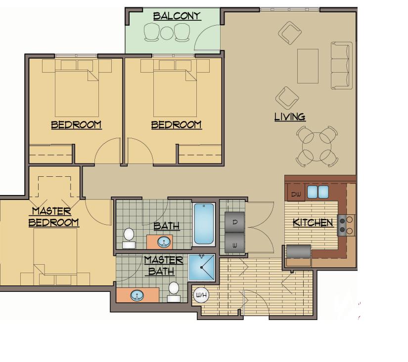 3x2 Bed Floor Plan | Apartments For Rent Shoreline Washington | Echo Lake