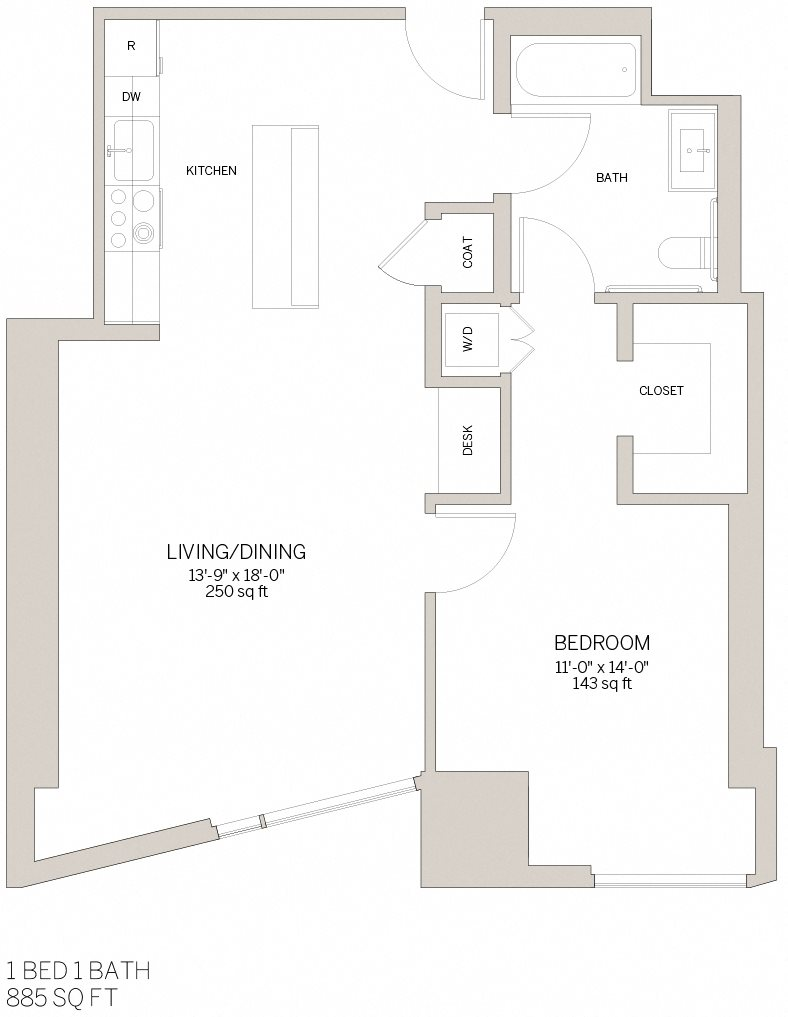 One Bedroom - C Floor Plan 1