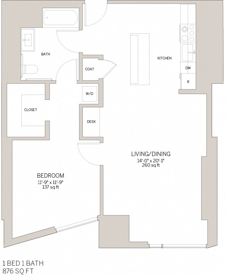 One Bedroom - D Floor Plan 2
