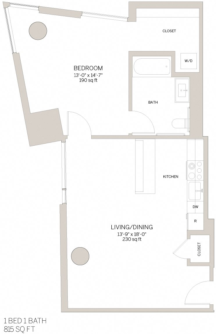 One Bedroom - G Floor Plan 3