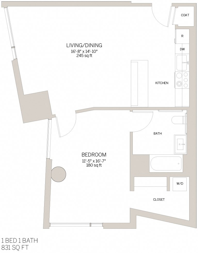 One Bedroom - J Floor Plan 5