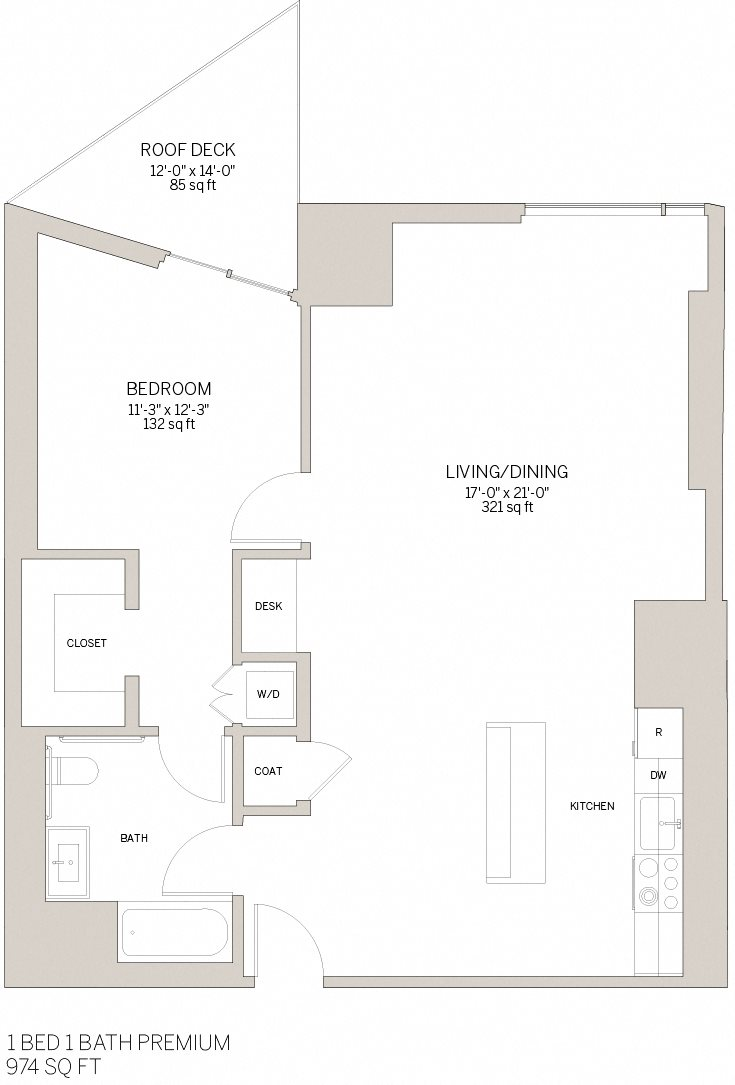 One Bedroom Premium - E Floor Plan 6