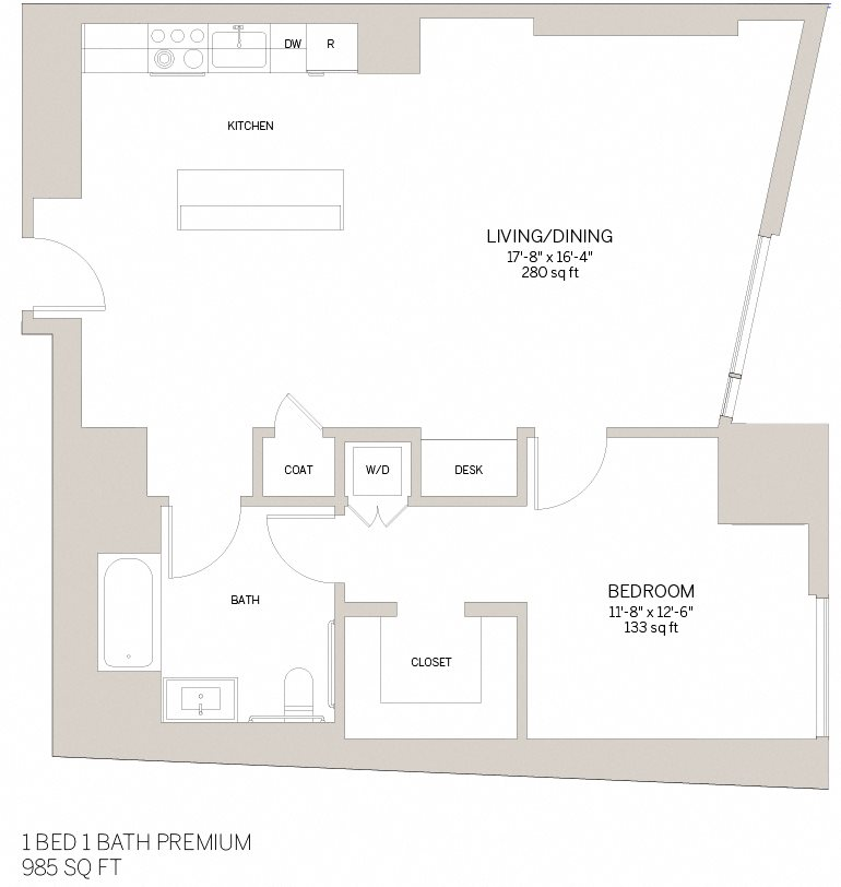 One Bedroom Premium - F Floor Plan 7