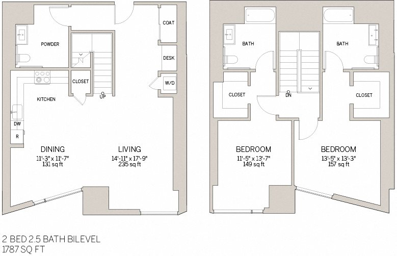 Two Bedroom Bi Level - W Floor Plan 15