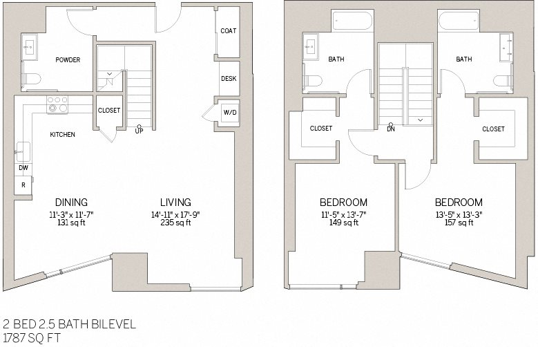 Two Bedroom Bi Level - V Floor Plan 14