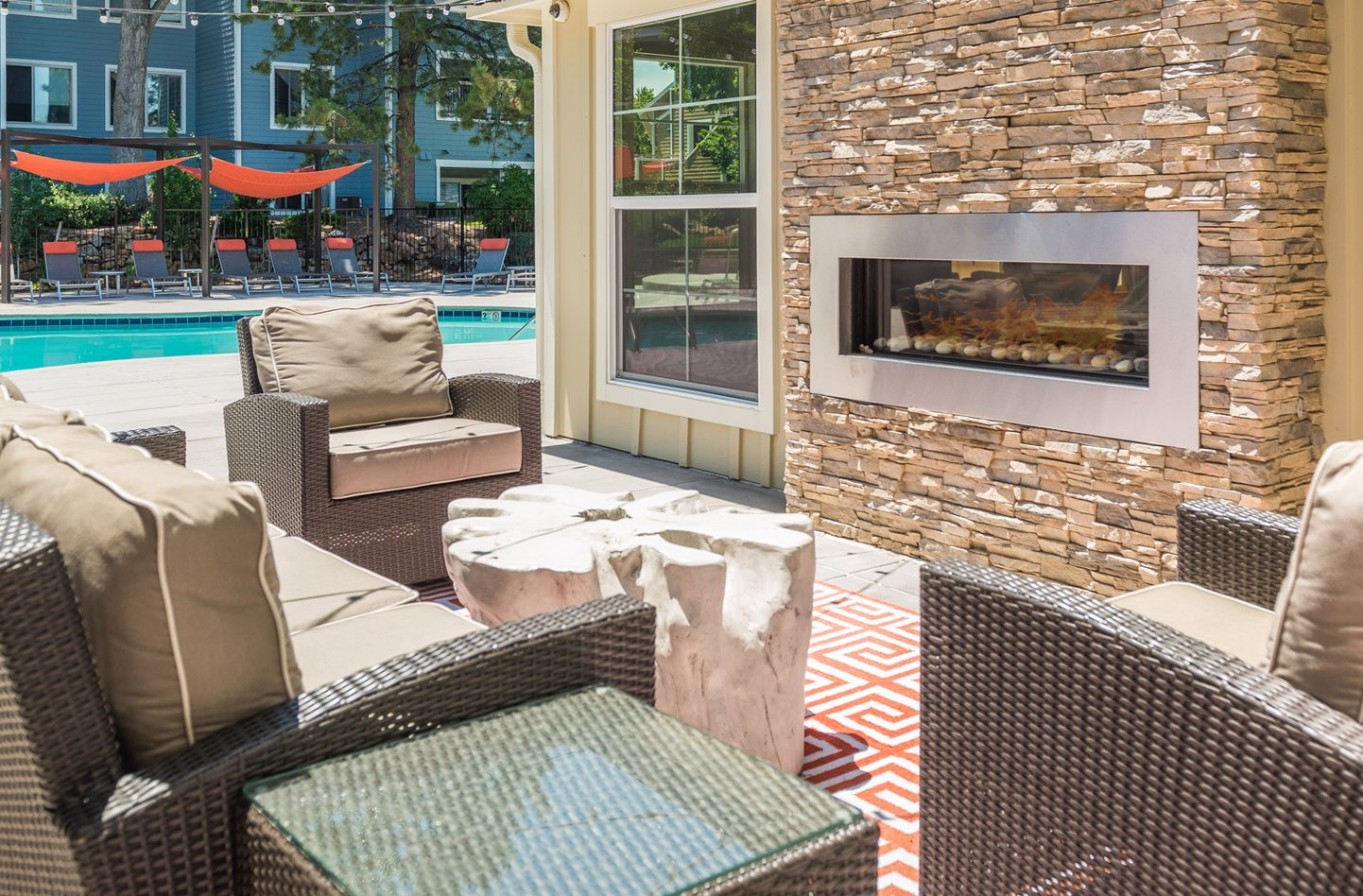 Outdoor Fireplace at Conifer Creek Apartments in Aurora, CO