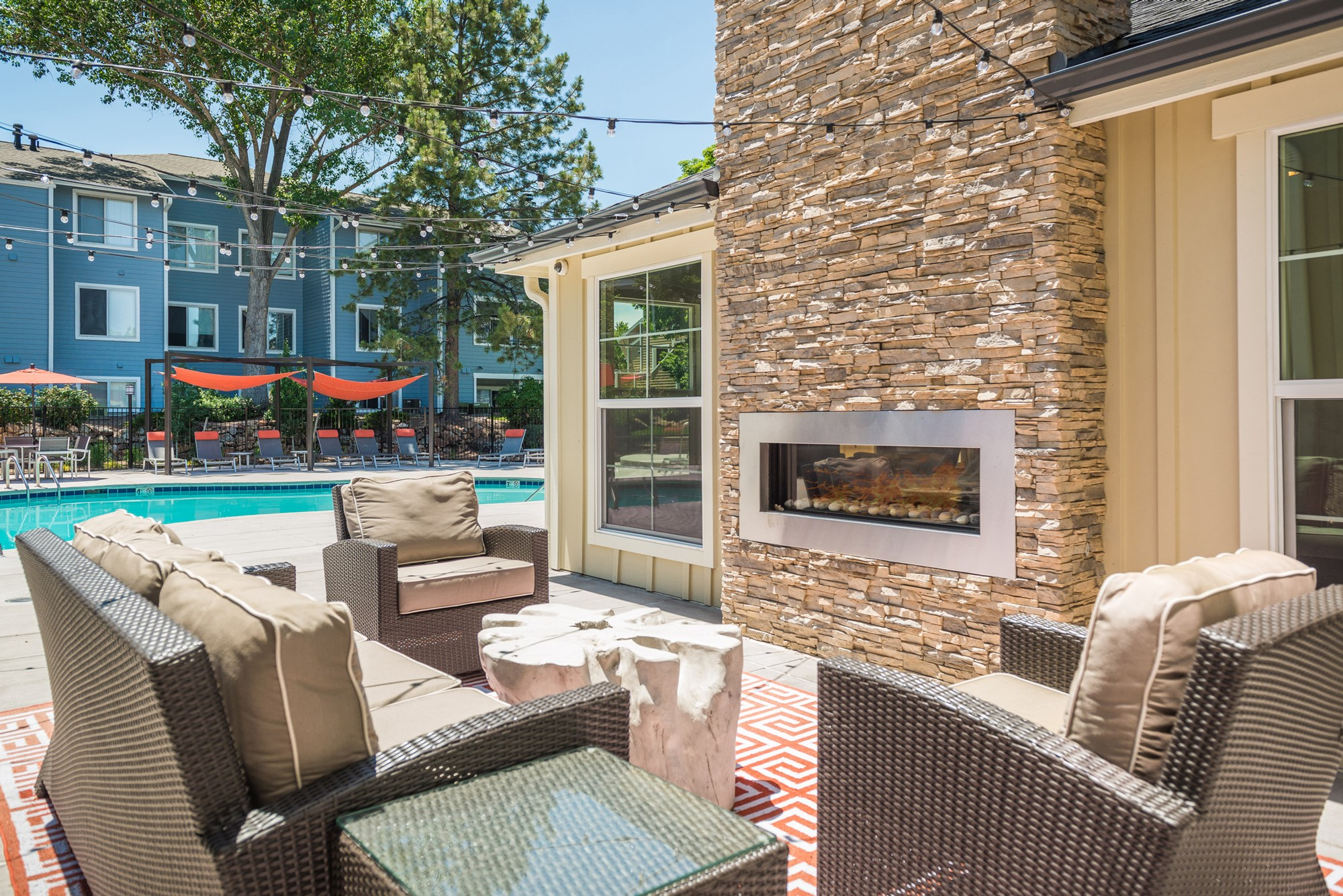 Outdoor Lounge at Conifer Creek Apartments in Aurora, CO