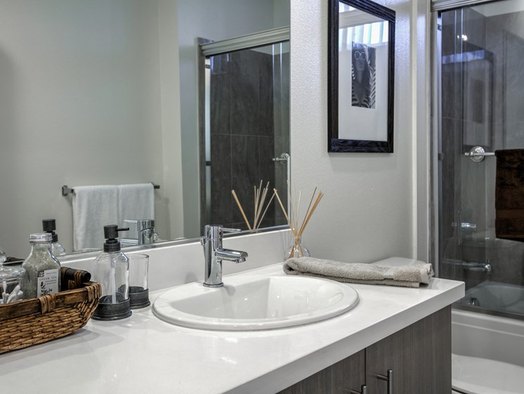 Modern Bathroom Fixtures and Quartz Countertops, at Legendary Glendale Apartment Homes, Glendale, California