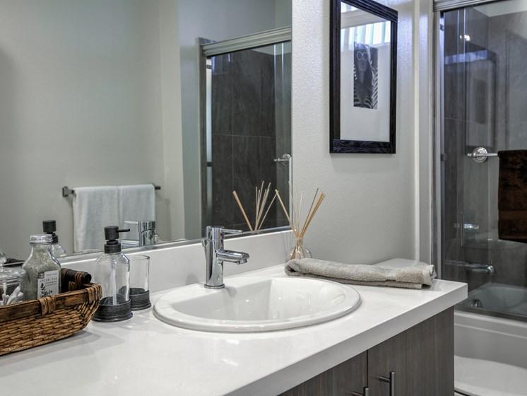 Modern Bathroom Fixtures and Quartz Countertops, at Legendary Glendale Apartment Homes, Glendale, California