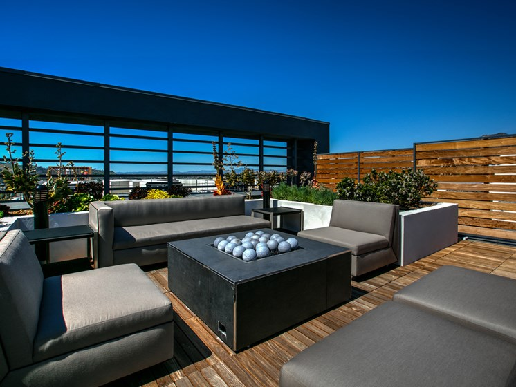 Skydeck Firepit and Lounge Area, at Legendary Glendale Luxury Apartments, in Glendale CA