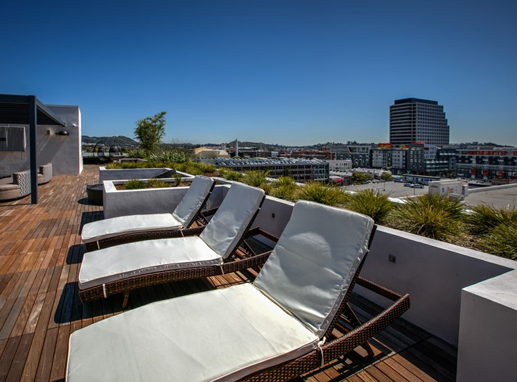 Chaise Lounges and Sundeck, in Glendale, CA, 91203 at Legendary Glendale Luxury Apartment Homes
