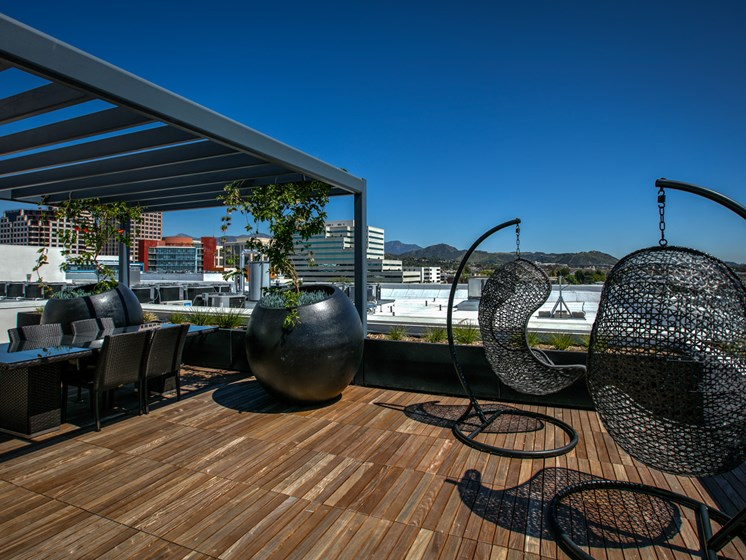 Skydeck Seating and Lounge Area, at Legendary Glendale Luxury Apartments, 300 N Central Ave, CA