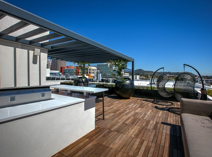 Rooftop Grilling Area, at Luxury Apartments in Legendary Glendale, Glendale, California