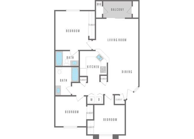 3 Bedroom 2 bath Floor Plan 2