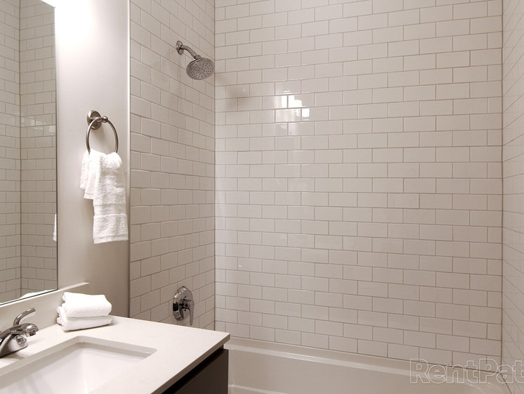 Subway tile shower-tub combo