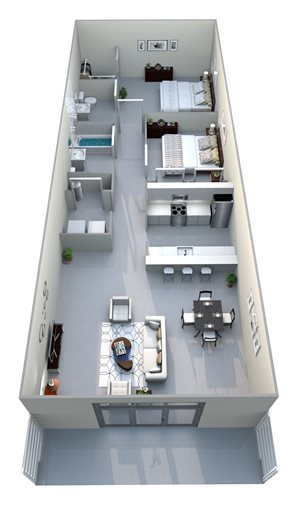 2x2 Loft Floor Plan - Open living space, 2 bed, 2 bath, semi-private patio
