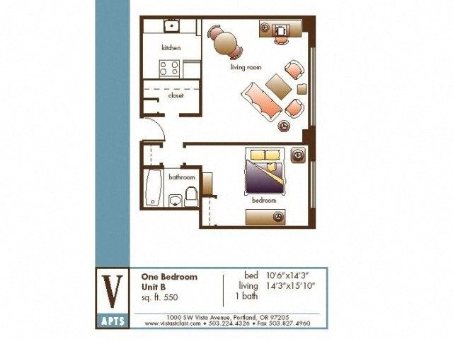 One Bed, One Bath Floor Plan 2