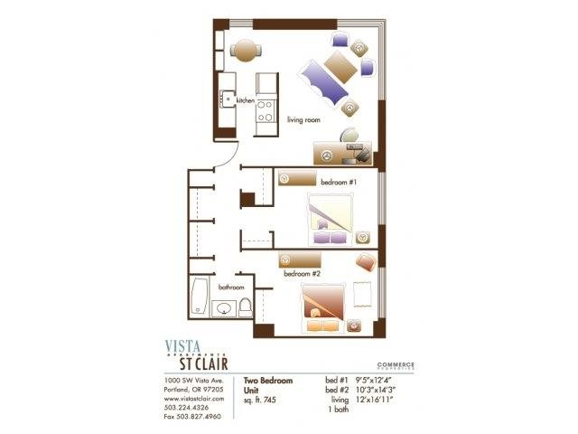 Two Bed, One Bath Floor Plan 3