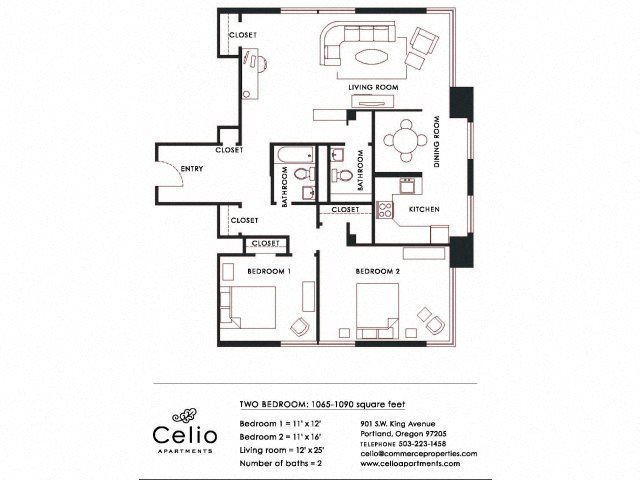 2BD 2BA Floor Plan 5