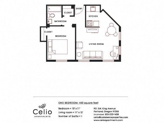1BD 1BA Floor Plan 2