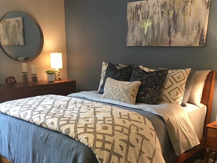 The Mark at SoDo apartments in South Downtown Orlando, FL 32806 Bedroom with designer paint colors