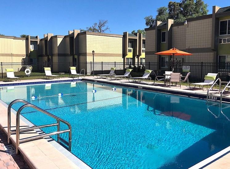 Shimmering swimming pool at The Mark at SoDo, Orlando, FL
