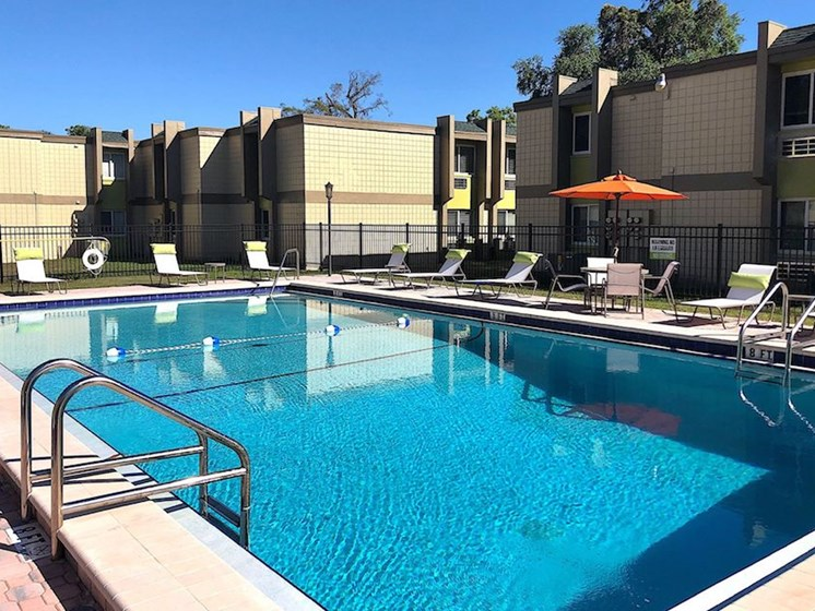 Shimmering swimming pool and sundeck at The Mark at SoDo, Orlando, FL