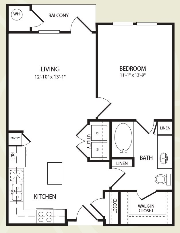 Centro Apartments_Aurora CO_Floor Plan_One Bedroom One Bathroom_The Dotsero