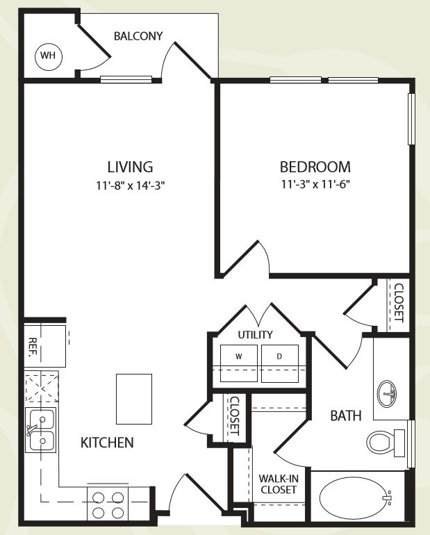 Centro Apartments_Aurora CO_Floor Plan_One Bedroom One Bathroom_The South Platte