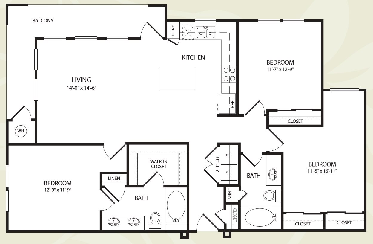 Centro Apartments_Aurora CO_Floor Plan_Three Bedroom Two Bathroom_The Mesa