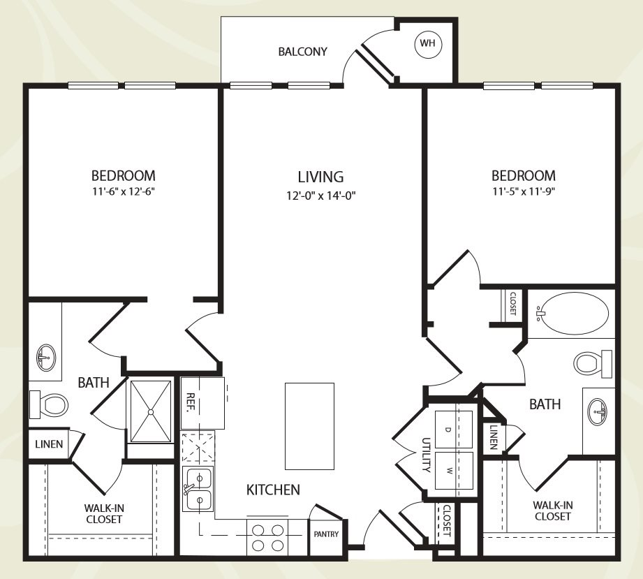 Centro Apartments_Aurora CO_Floor Plan_Two Bedroom Two Bathroom_The Maroons
