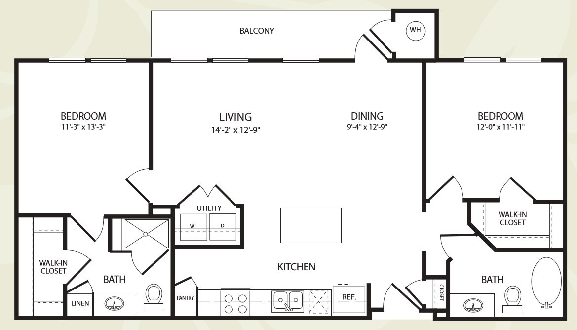 Centro Apartments_Aurora CO_Floor Plan_Two Bedroom Two Bathroom_The Pikes Peak