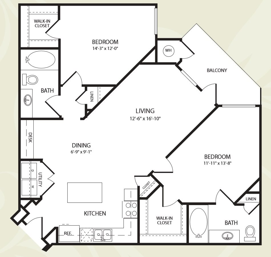 Centro Apartments_Aurora CO_Floor Plan_Two Bedroom Two Bathroom_The Redrocks