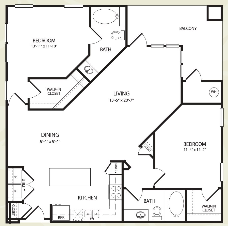 Centro Apartments_Aurora CO_Floor Plan_Two Bedroom Two Bathroom_The Royal Gorge