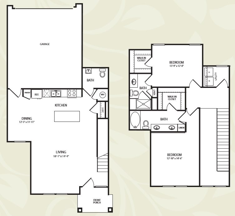 Centro Apartments_Aurora CO_Floor Plan_Two Bedroom Two ad a Half Bathroom_The Grand Lake