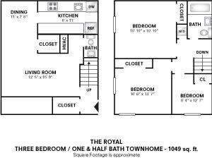 3 Bedrooms 1.5 Baths