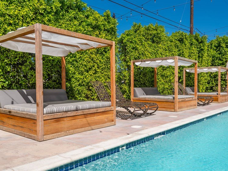 Lounge Swimming Pool With Cabana at The Verandas, Canoga Park, CA, 91304
