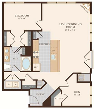 One Bedroom One Bathroom with den 994 sq ft